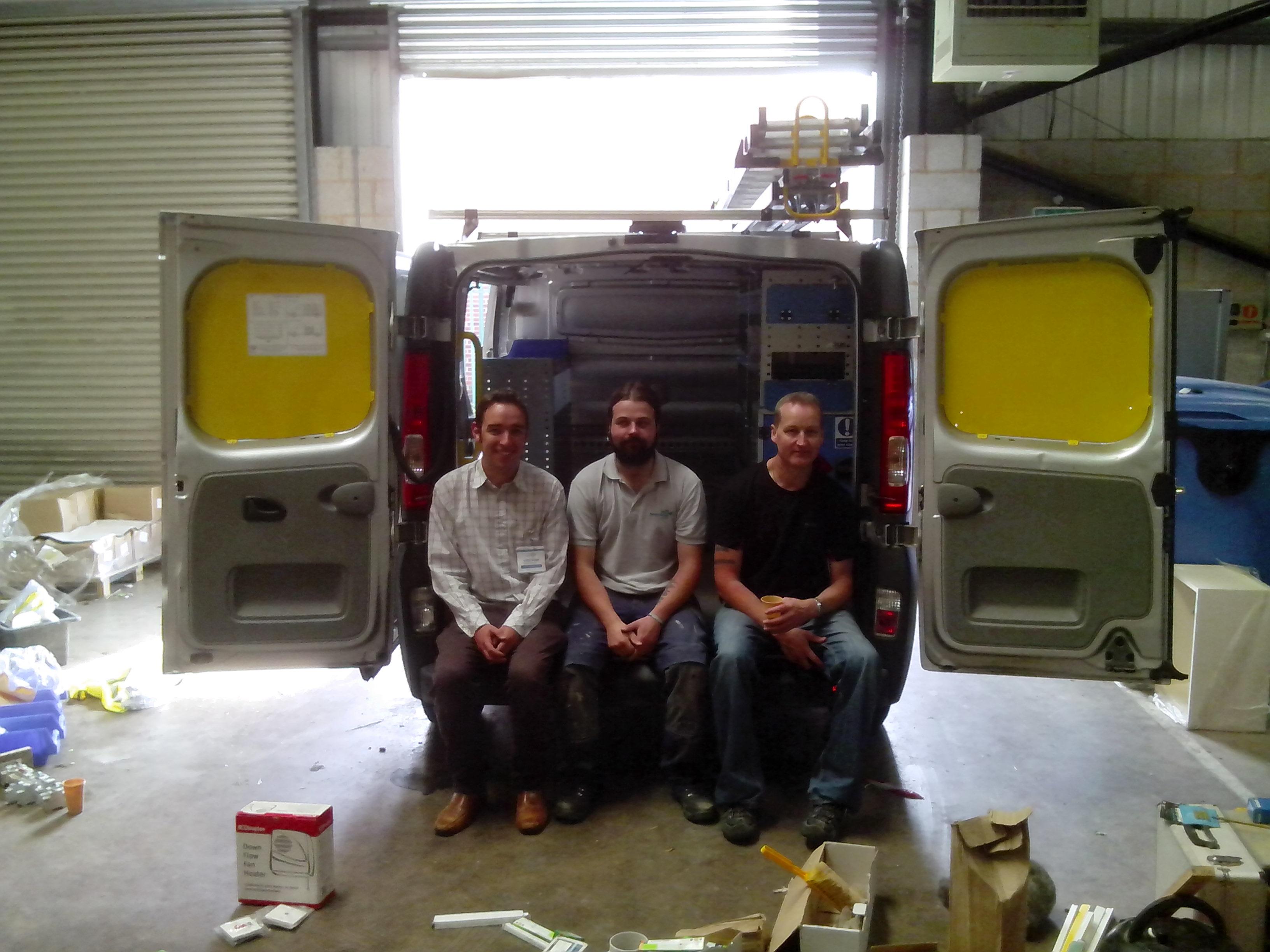 Telecetera software engineers performing a van stock take